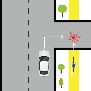 Car Turning into Cyclist at the Sidewalk