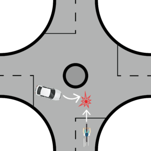 Cyclist Enters a Roundabout with a Car Already Inside