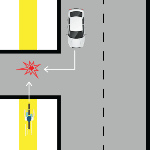 Car Turning Right into Sidewalk and Cyclist