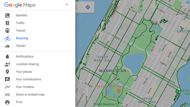 Toggle Bicycle Paths on Google Maps
