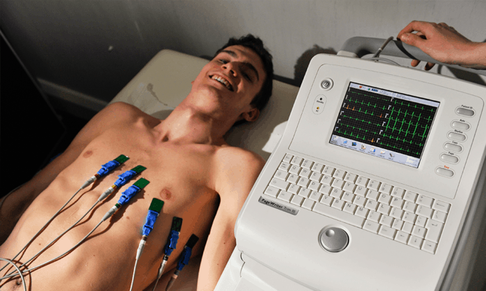 An Athlete doing ECG Test