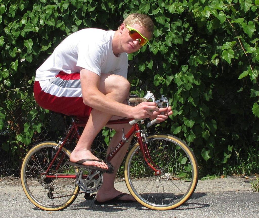 An Adult on A Kids Bike