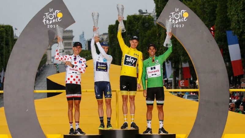 Tour de France 2017 Classification Jerseys Podium