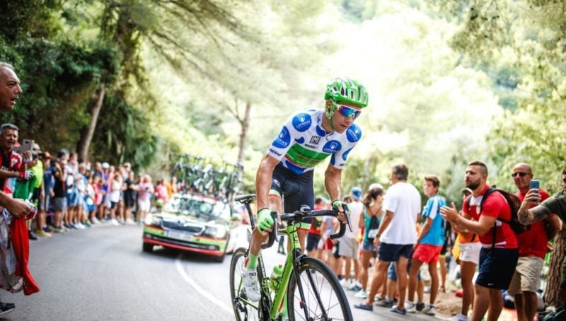 Davide Villella in the KOM Jersey at 2017 Vuelta