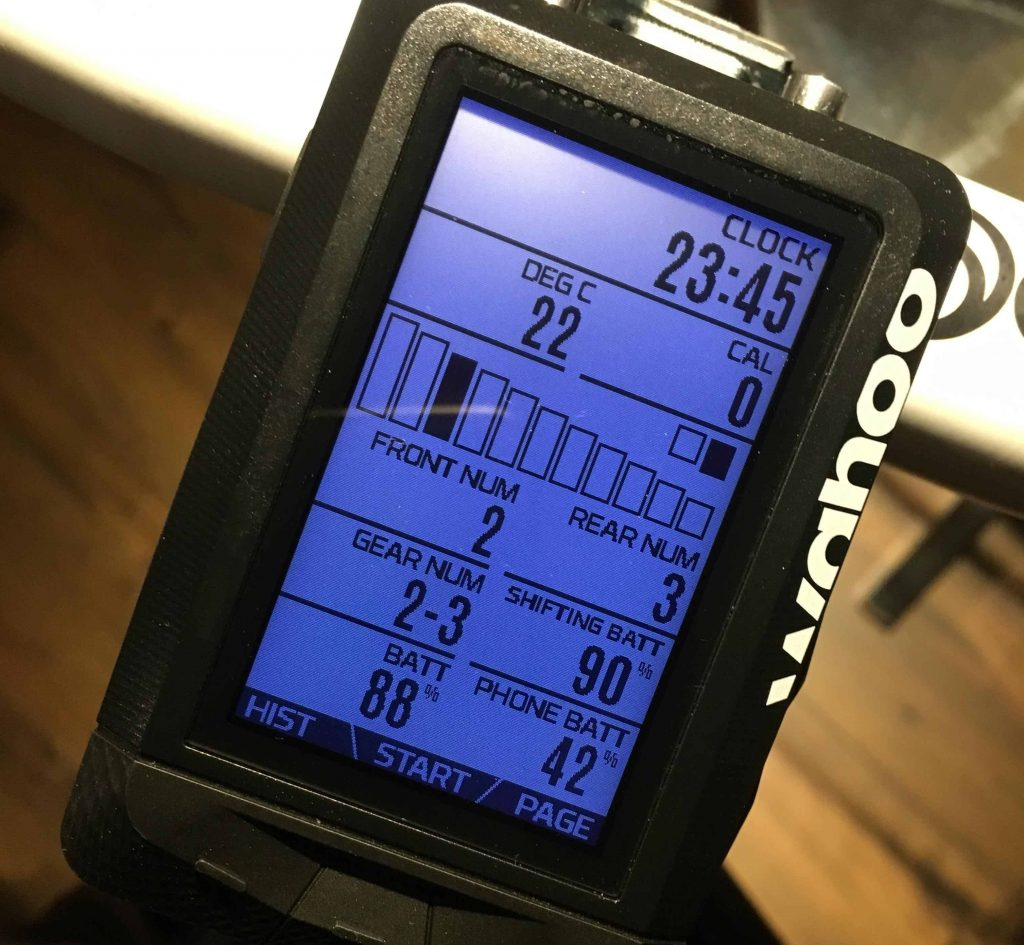 Wahoo Elemnt Showing Gear Status