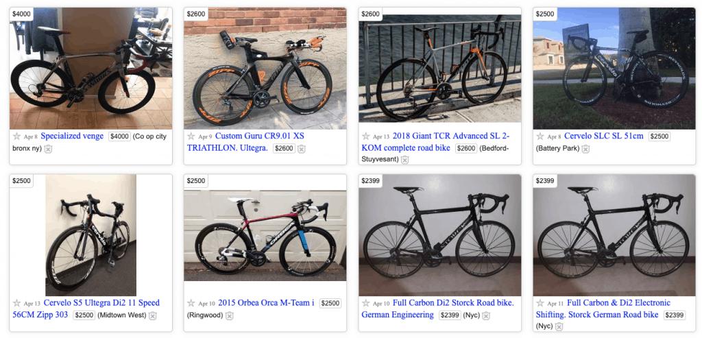 Craiglist Bike Listing