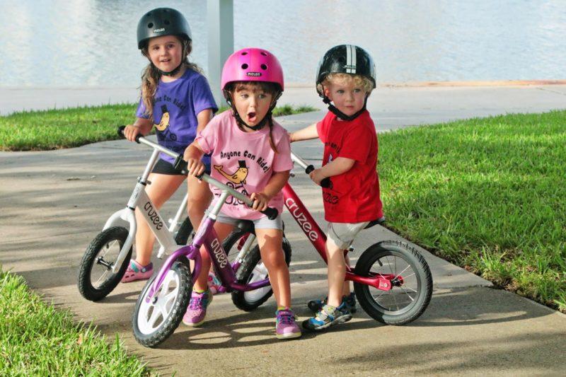3 Kids on Balance Bikes