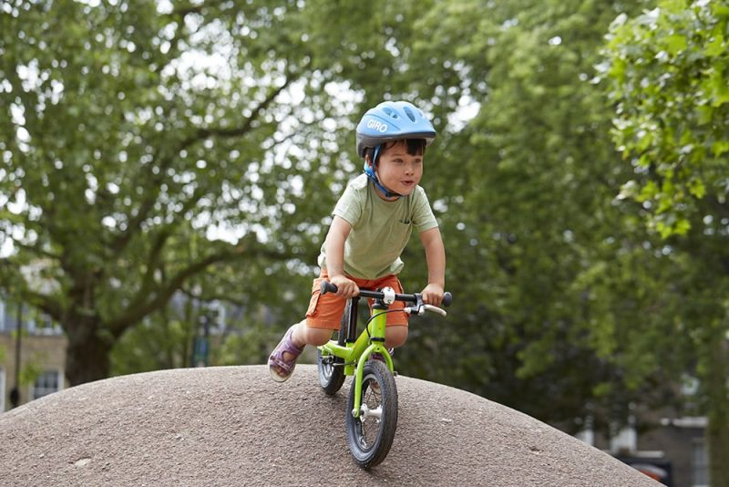 Kids on Green Balance Bike