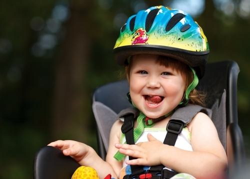 Toddler Wearing Bike Helmet
