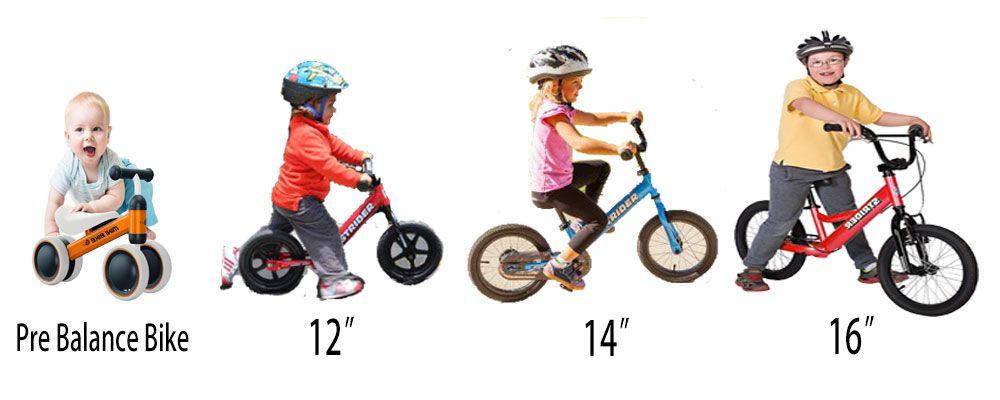 Various Balance Bikes Wheel Size