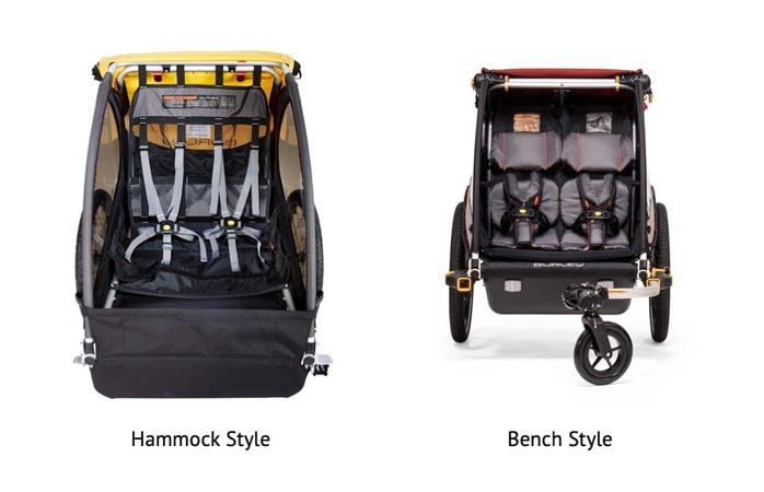 Hammock vs Bench Seat Bike Trailer