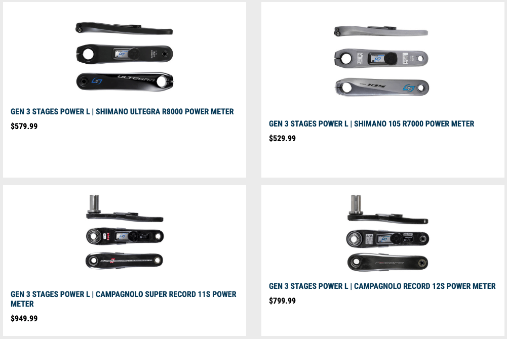 Stages Single Sided Power Meters Lineup
