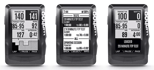 Wahoo Elemnt Planned Workout Screen