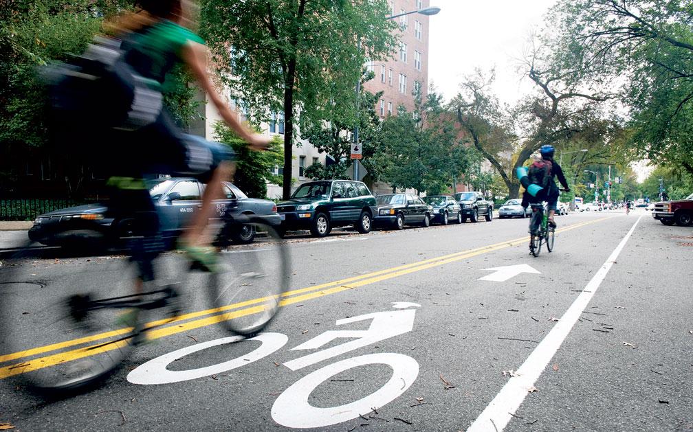 Cyclist Riding in Bike Lane