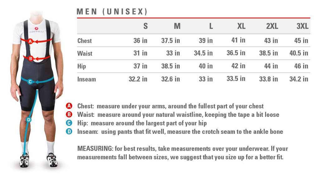 Castelli Size Charts