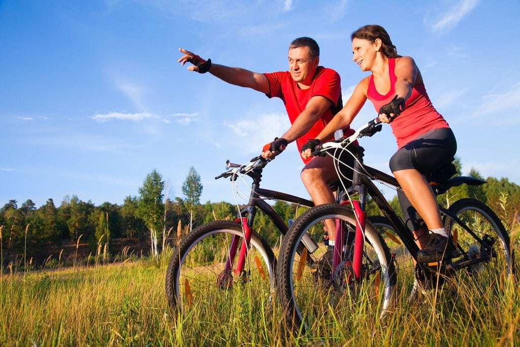 A Couple Cycling Together