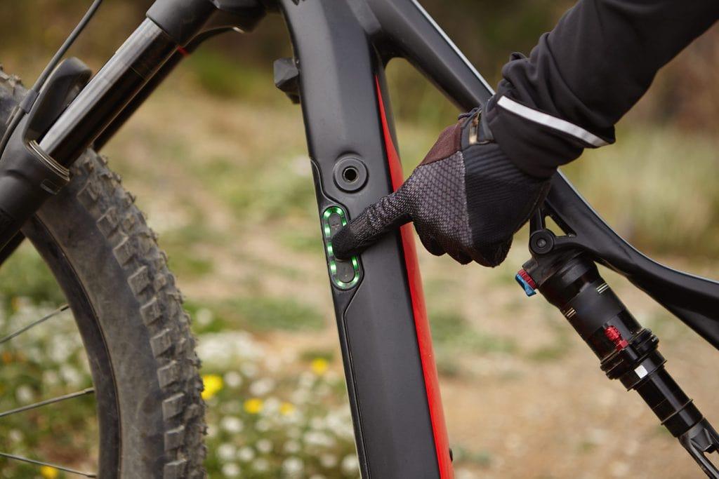 Cyclist on Electric Mountain Bike 8