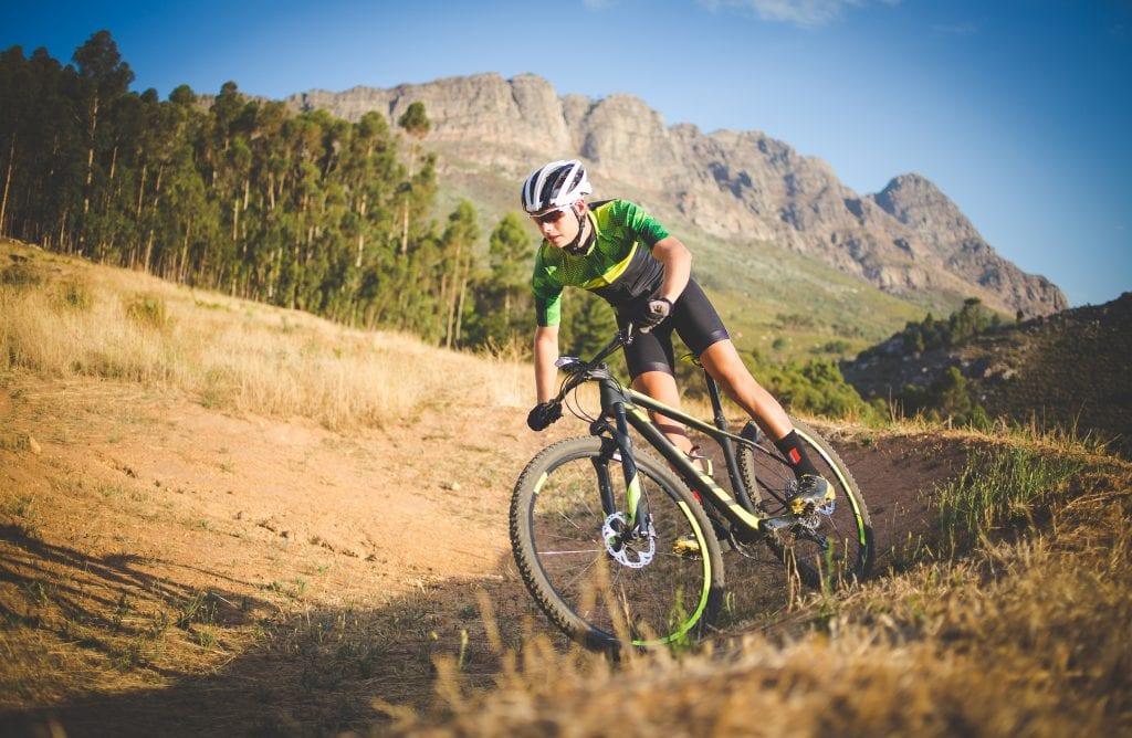 Mountain Biker in a Trail