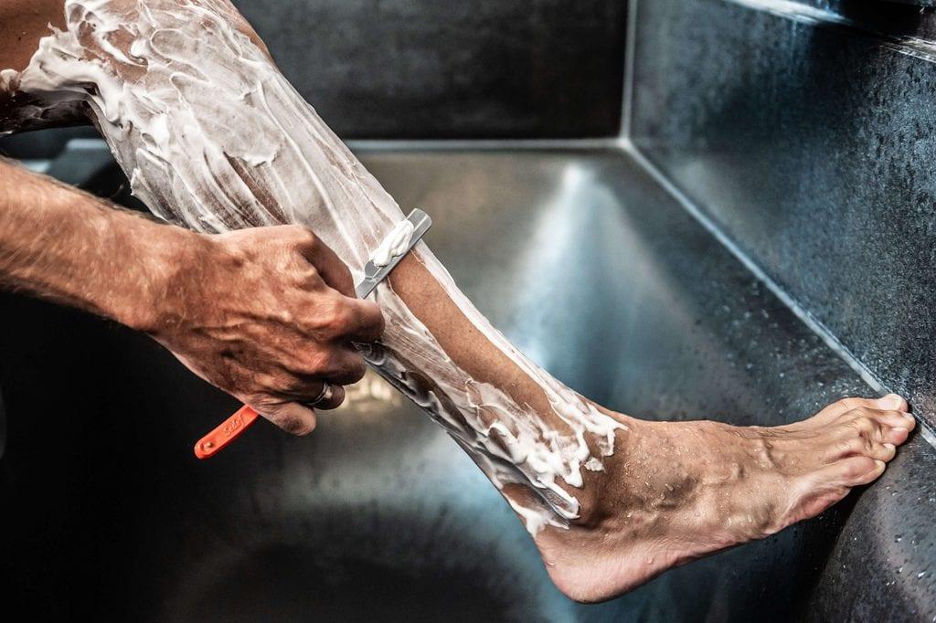 Cyclist Shaving Legs