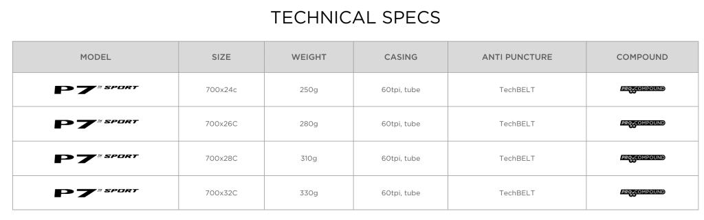 Pirelli P7 Sport Bike Tires Technical Specs
