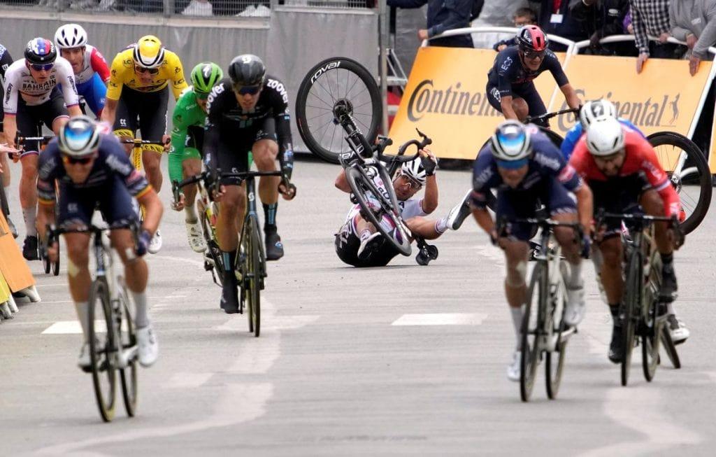 Peter Sagan and Caleb Ewan Crashes